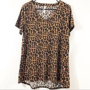 NWT Lularoe Christy Short Sleeve Top Cheetah Print